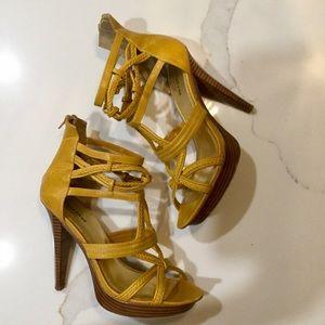 Bebe- Custard- Caged heel sandal SZ 10